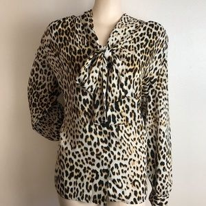 Cheetah Print Pussycat Bow Button Down Blouse